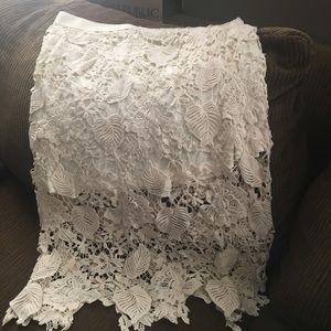 Cream or egg shell white midi lace crocheted